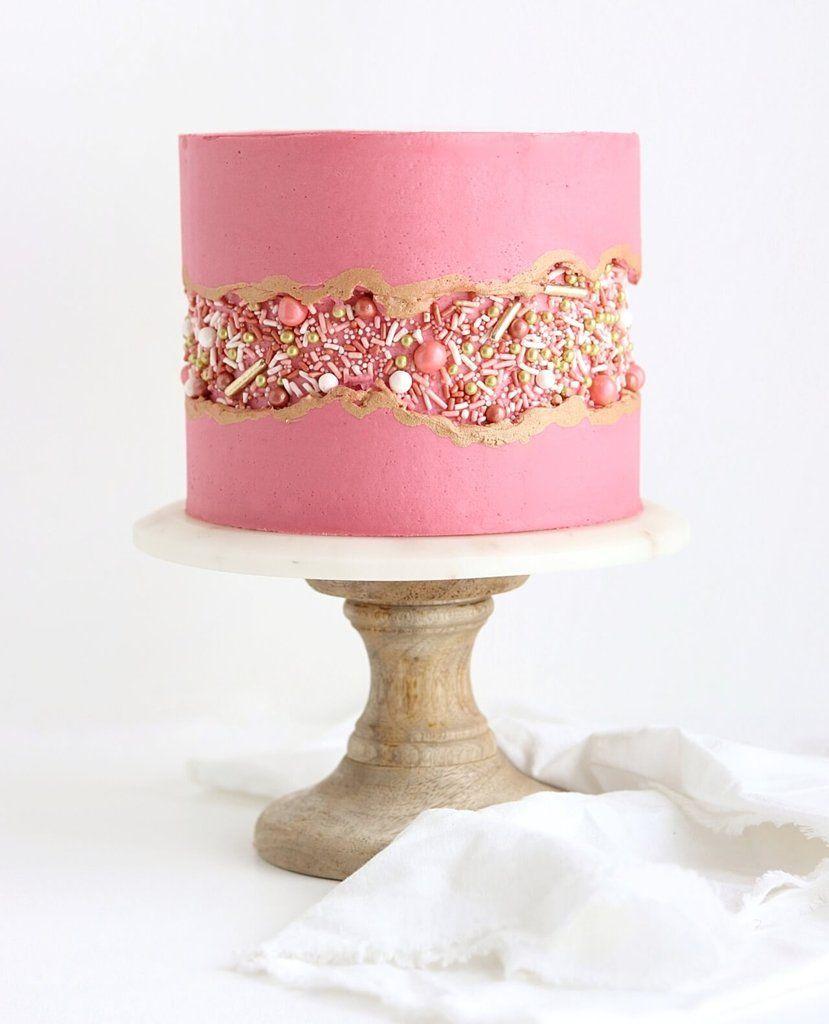 Vintage Rose Gold Sprinkle Fault Line Cake | Beautiful Cake