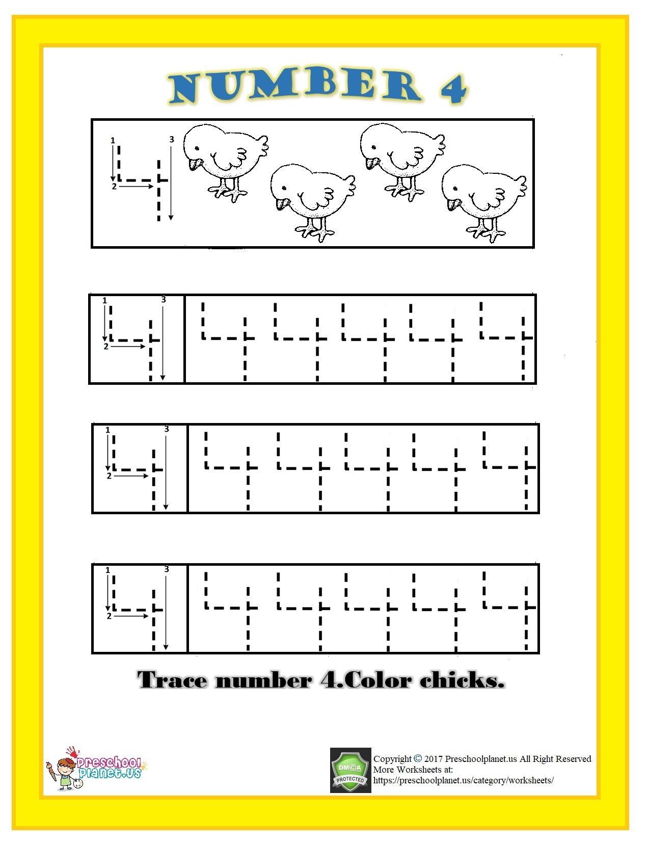 Number 4 Trace Worksheet For Kids