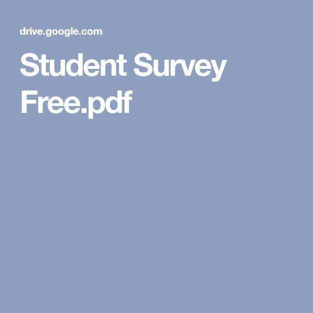 Student Survey FreePdf  School    Student Survey
