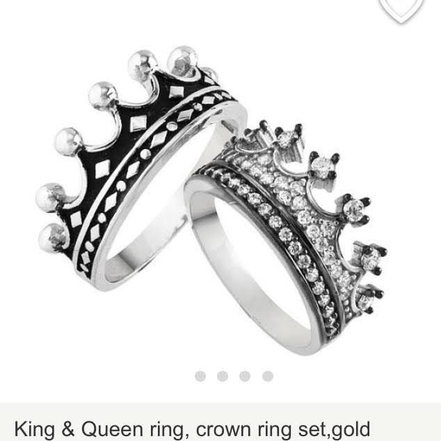 His And Hers Crown Rings King Ring Queen Rings Silver Crown Ring