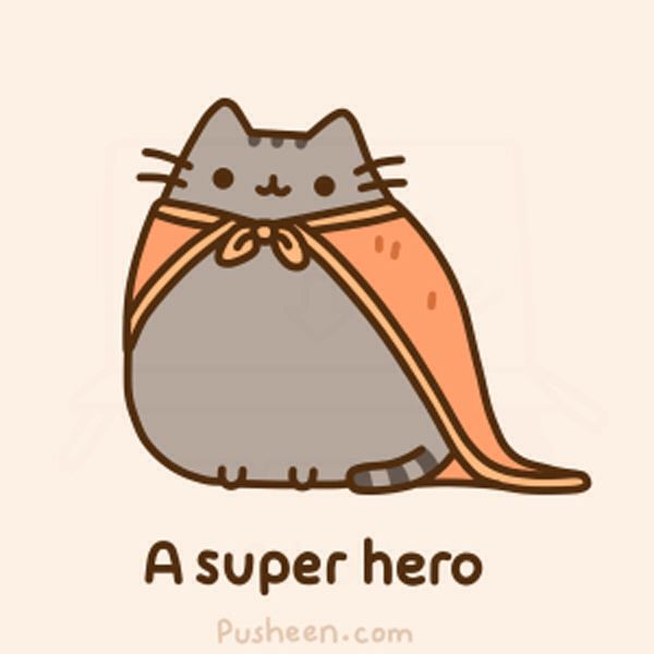 Pusheen is a super hero ! Found at pusheen.com