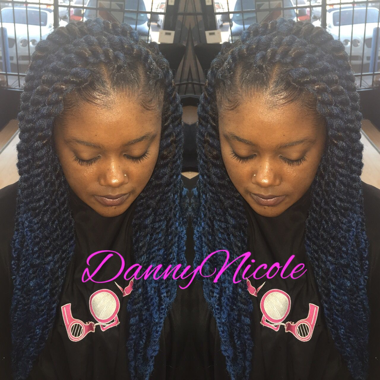 Large blue marley twist done by dannynicole in houston hair
