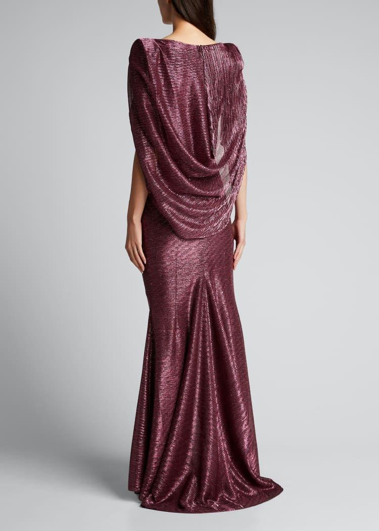 Talbot Runhof Socrates Cape Effect Draped Metallic Gown Gowns Talbots Formal Dresses Long [ 1050 x 750 Pixel ]