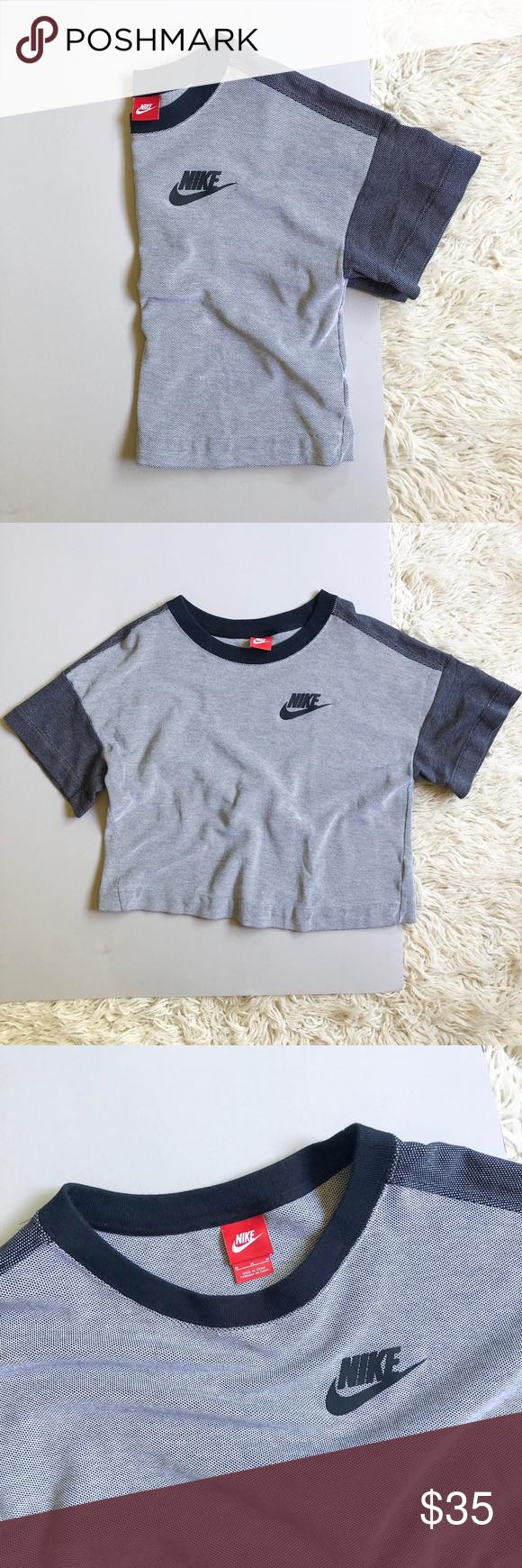 Nike Cropped Short Sleeve Textured Sweatshirt M Texture Sweatshirt Color Block Sweatshirt Sweatshirts [ 1740 x 580 Pixel ]