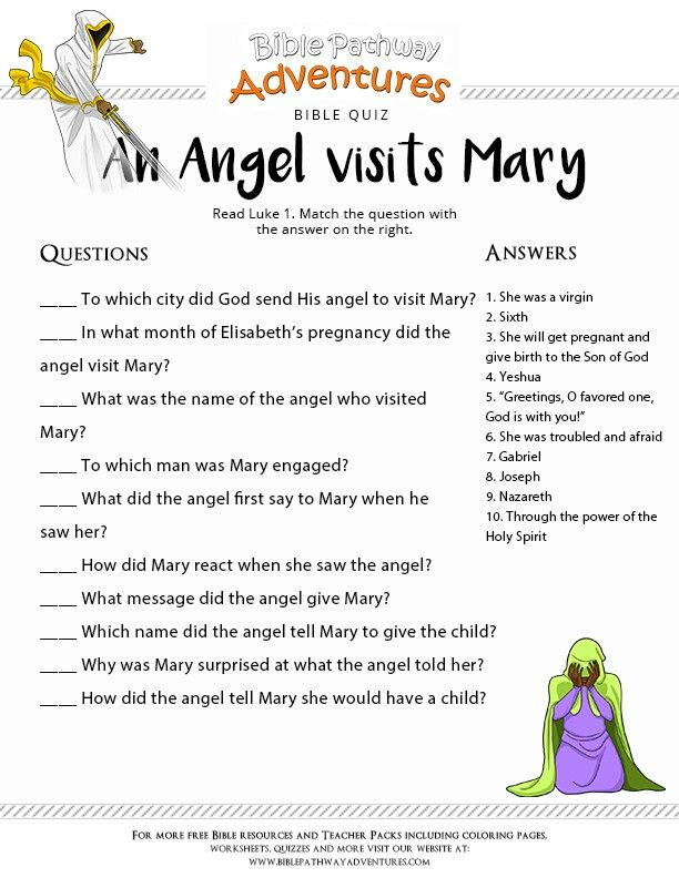 Enjoy Our Free Bible Quiz: An Angel Visits Mary. Fun For Kids To Print And  Test Their Knowledge. Printable Homeschool Resources And Activities.