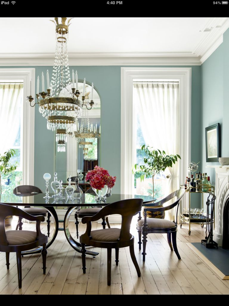 Great wall color, elegant decor. | Dining Room | Dining room ...