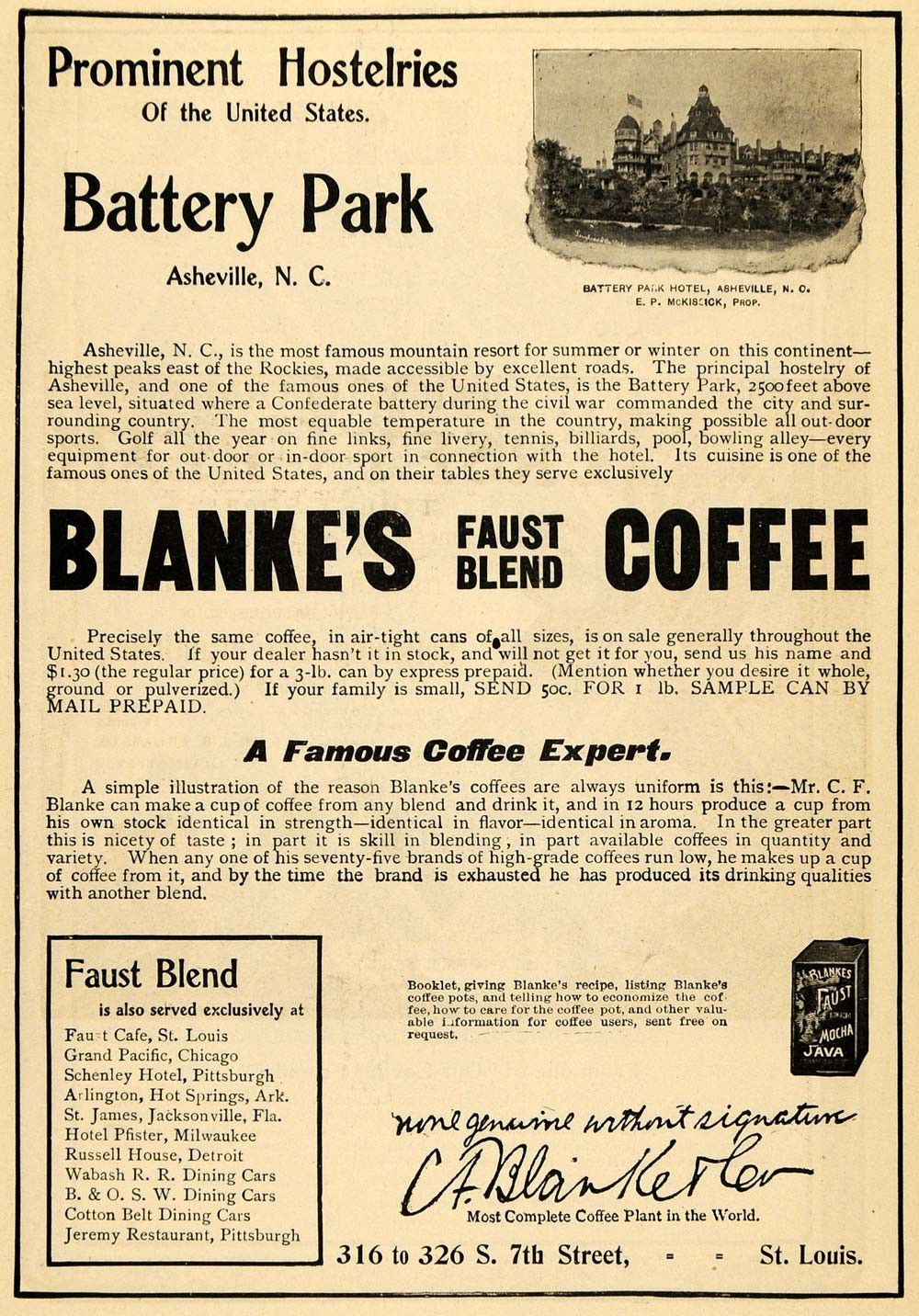 1900 Ad C F Blanke Co Coffee Drink Battery Park Hotel Original