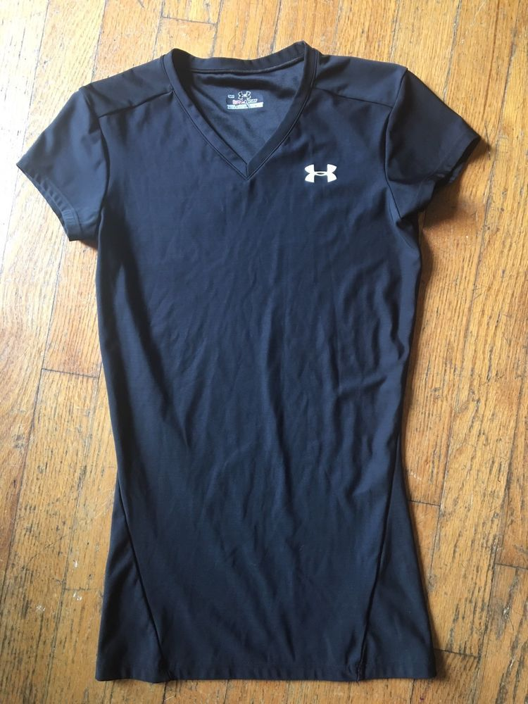 Women S Under Armour Semi Fitted Heatgear V Neck T Shirt Top Size S