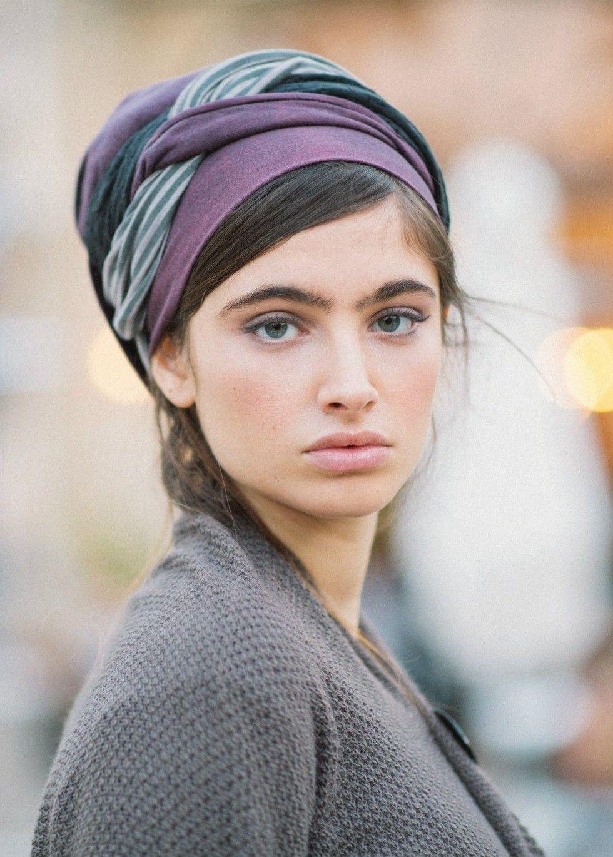 Purple Infinity Half Head Covering #tichel | Head scarves ...