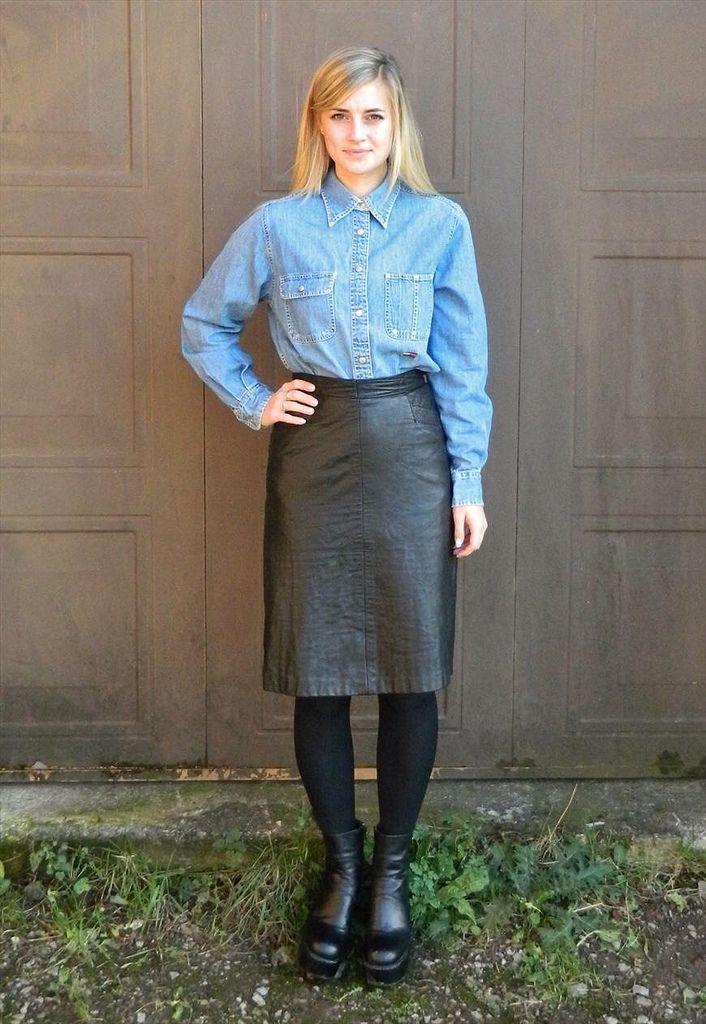 Alle Größen | Blue denim button up shirt & black leather skirt ...