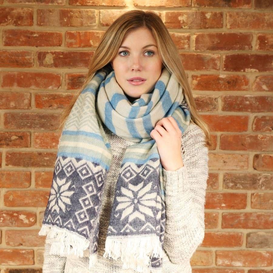 Nordic Snowflake Oversized Blanket Scarf