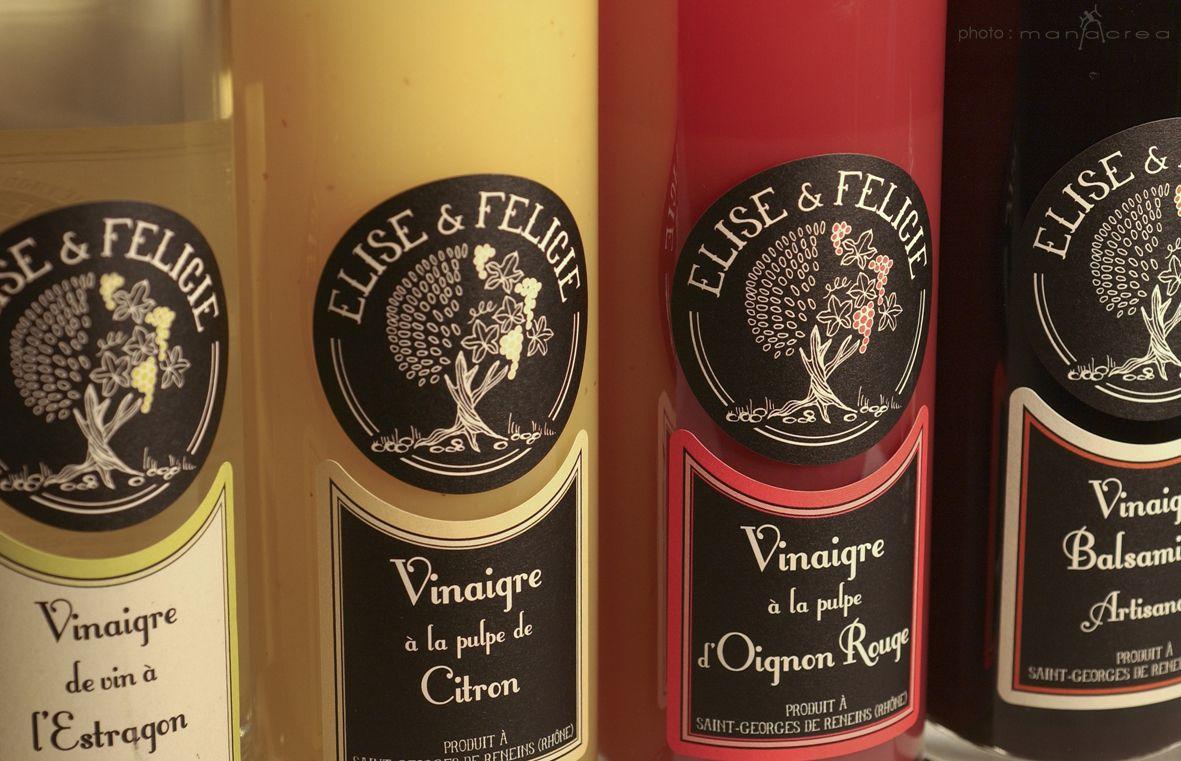 ÉLISE & FÉLICIE - Vinaigre à la pulpe de fruits - Création Manacrea  www.manacrea.com