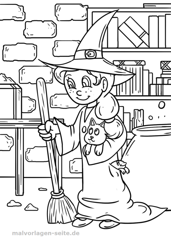 Malvorlage / Ausmalbild Hexe - Coloring pages for Kids with ...
