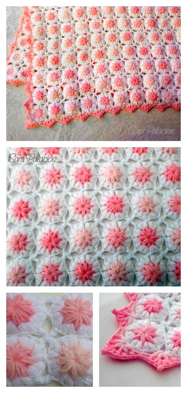 Crochet Puff Flower Blanket Pattern and Free Chart   Gráficos, Flor ...