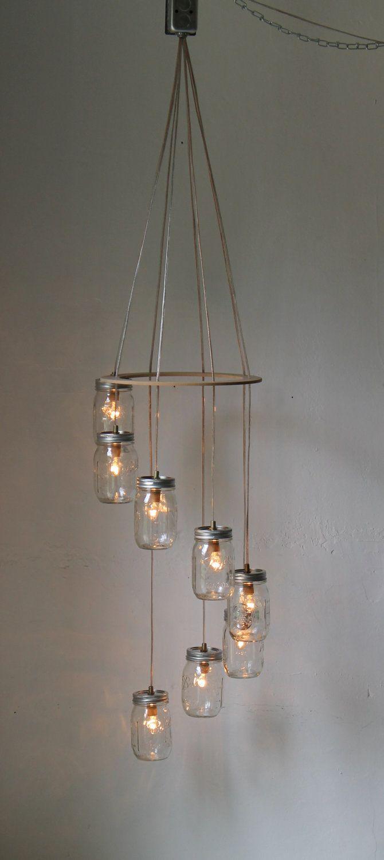 Spiral mason jar chandelier rustic hanging pendant lighting fixture