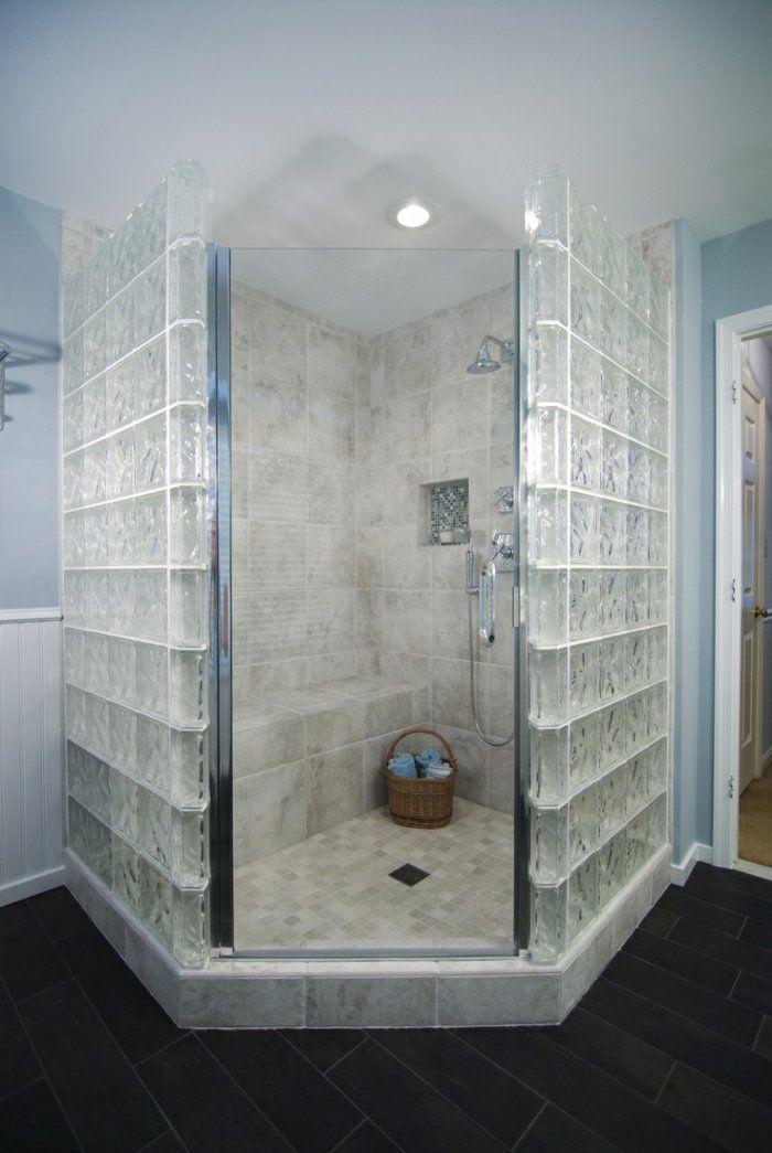Mettons des briques de verre dans la salle de bains home salle de bains brique salle de - Brique verre salle de bain ...