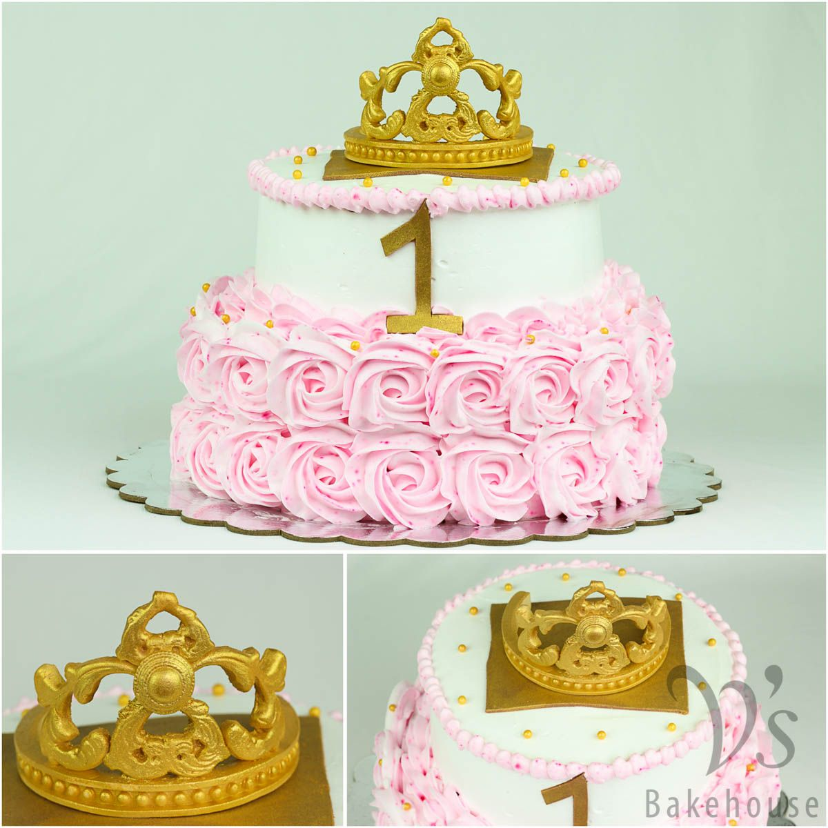 First Birthday Cake For Princess Jyothsna With A Fondant Tiara. Its A Dark Chocolate Cake Filled