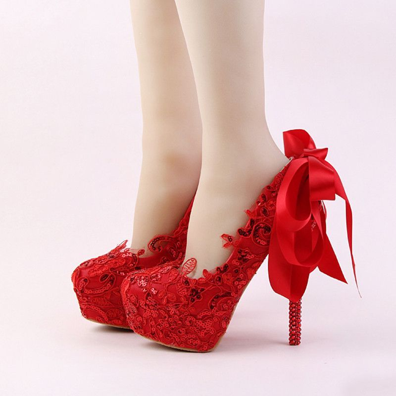 Handmade Red Lace Bride Shoes Fashion Glitter Stiletto Heel Wedding Dress With Ribbon Bow And Rhinestone Women Pumps