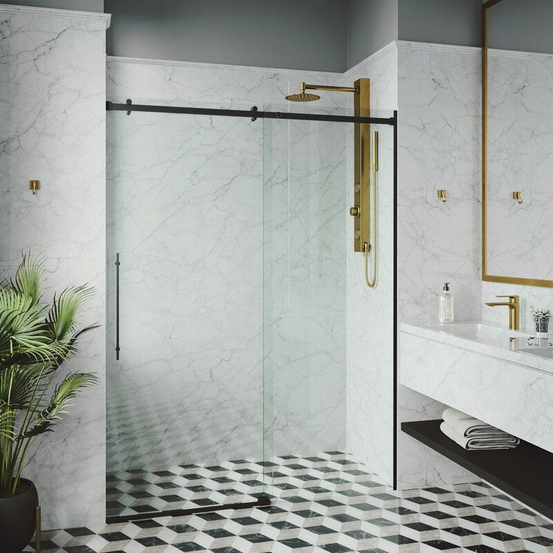 Luca 60 X 78 Single Sliding Frameless Shower Door In 2020 Sliding Shower Door Frameless Sliding Shower Doors Shower Doors
