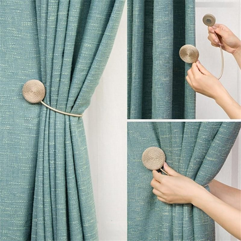 Magnets For Curtain Holder Catches Curtain Accessories Tieback Europe Style Brief Braided Round Magnet Magnetic Curtain Tie Backs