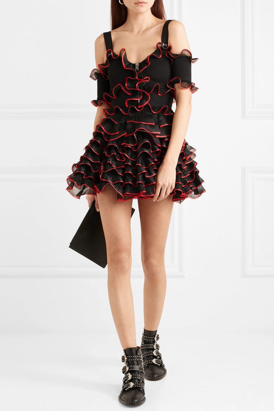 Buy Cheap Shop Very Cheap Price Cold-shoulder Ruffled Stretch-knit Mini Dress - Black Alexander McQueen WCVaqTuJLn