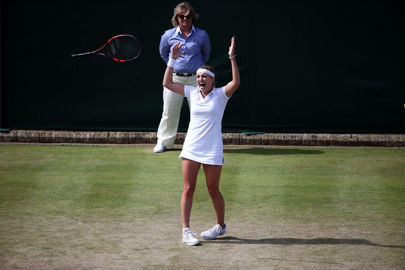 Timea Bacsinszky celebrates her fourth round win. Jed Leicester/AELTC Wimbledon 2015