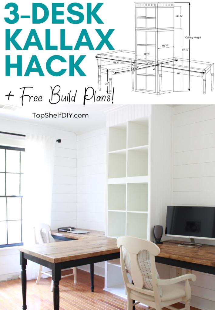 Ikea Kallax Hack Build Your Own 3 Part Desk System In 2020 Kallax Ikea Ikea Kallax Hack Home
