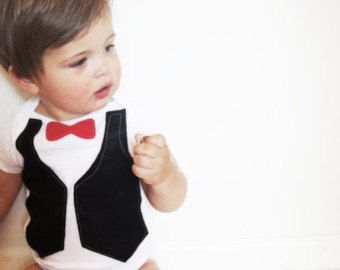 0-3 month Baby Boy Onesie Red Bow Tie and Black Vest Outfit . Sharp