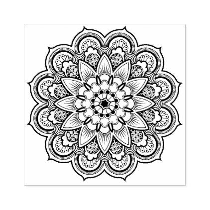 Mandala Geometric design Rubber Stamp | Zazzle.com