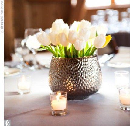 White Tulip Centrepieces Httptheknotnemsn