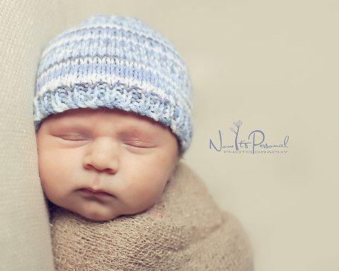 Baby Boy Blue Nordic Fair Isle Beanie Hat Photo Prop – Funky Knits ...