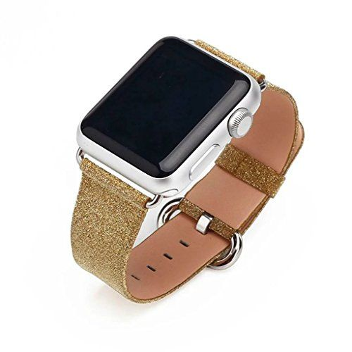 Apple Watch Bands Genuine Leather Flashes Strap WristBand with Silver Adapters for Apple Watch Sport iWatch Replacement Band with Metal Clasp in Edition 38mmBrown Bling >>> You can get more details by clicking on the image.