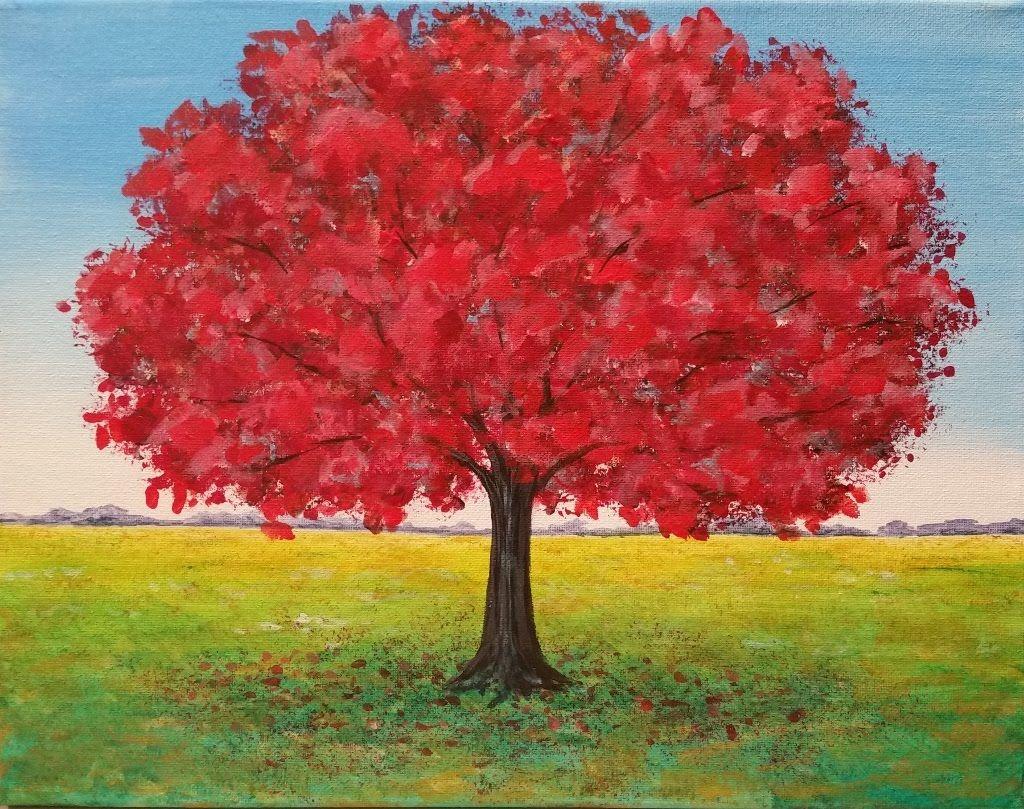 Live Red Oak Tree Landscape Acrylic Painting Tutorial Free Lesson Fall Tree Painting Acrylic Painting Trees Fall Landscape Painting