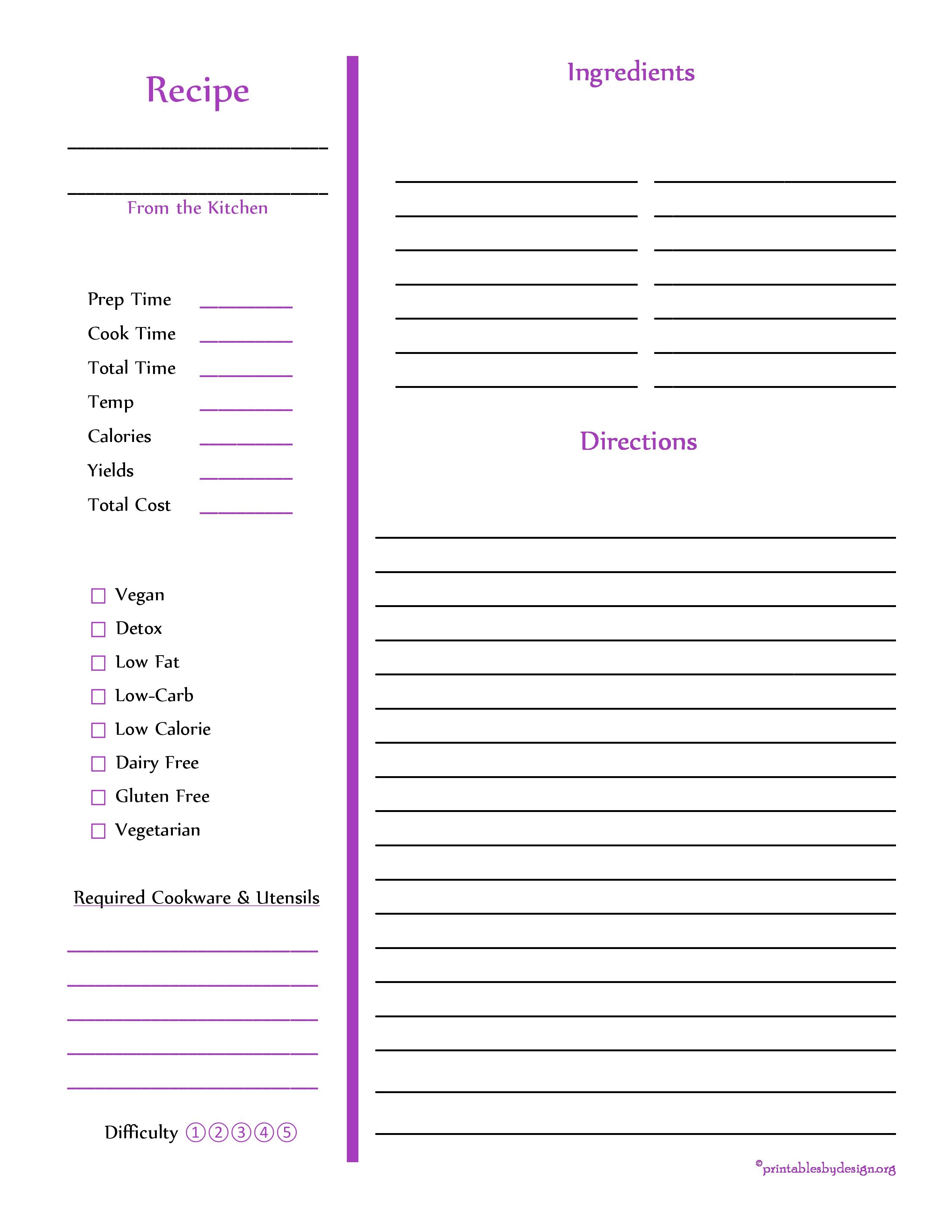 Purple Recipe Card - Full Page   All things Cooking hacks, canning ...
