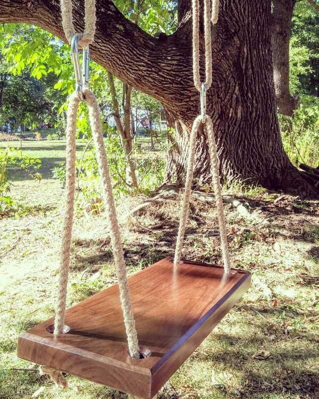A pinterest perfect backyard swing. Made from salv
