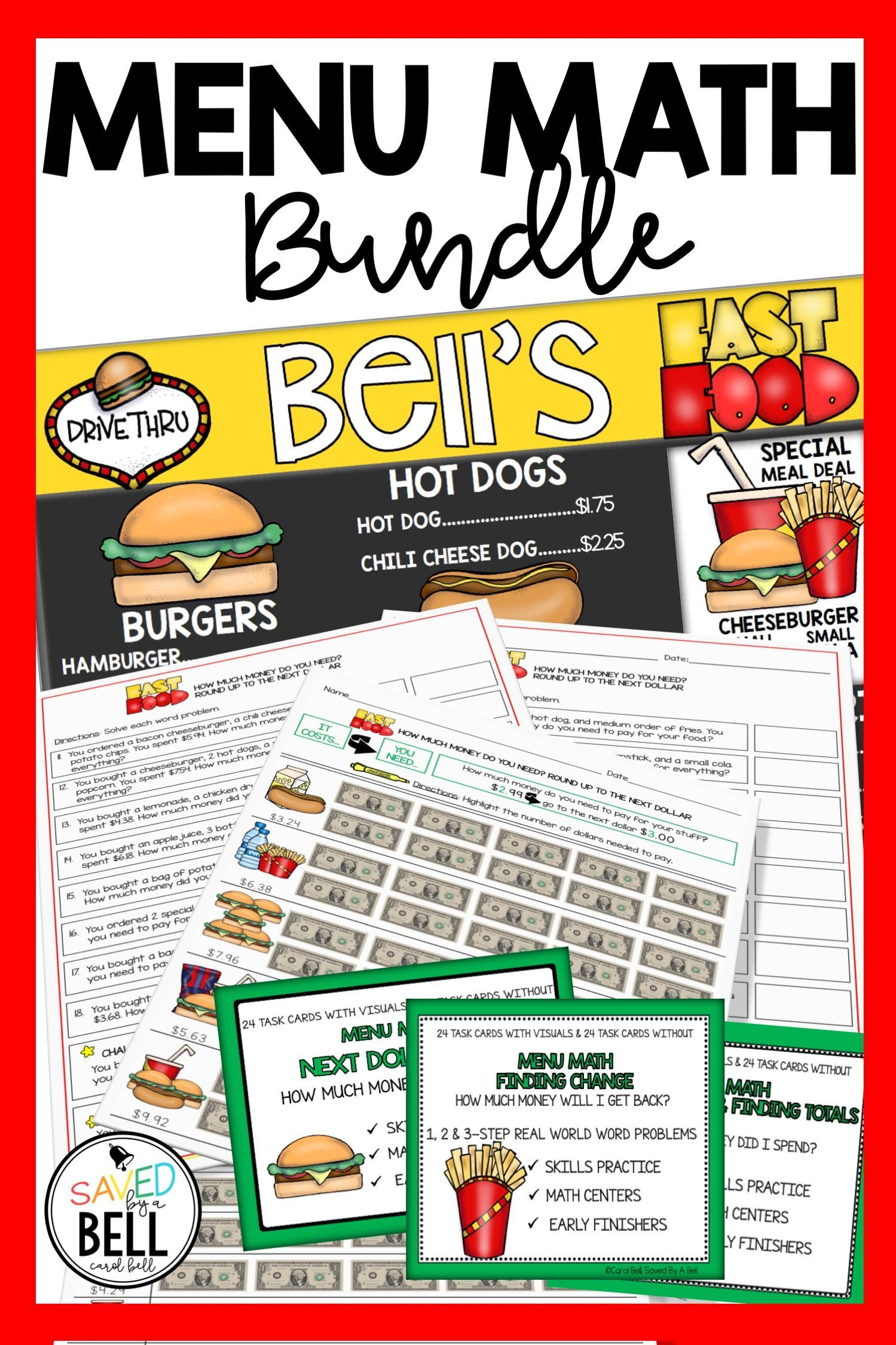 Money Worksheets And Task Card Bundle Menu Math Distance