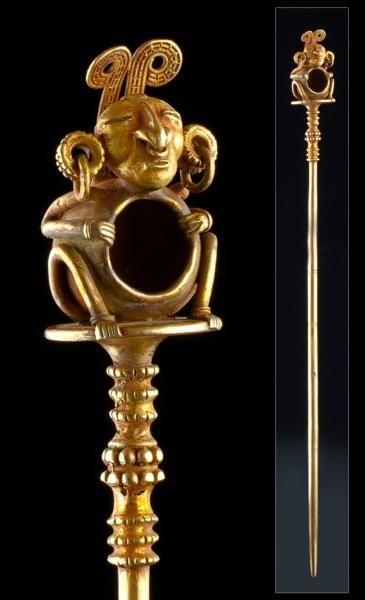 Calima,Pre-Columbian. Mientras otras culturas precolombinas trabajaban con ceramica la cultura Calima y Muisca (Colombia) trabajaban con oro creando piezas de una altisimo calidad y con gran cantidad de detalles.