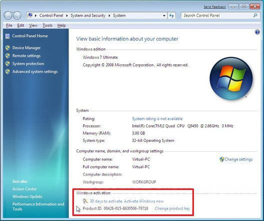 To activate Windows online, you must have Windows 7 product