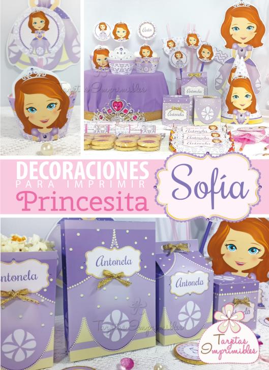 Imprimibles para fiestas personalizadas de la Princesita Sofía, decoraciones, cajitas y candy bar.