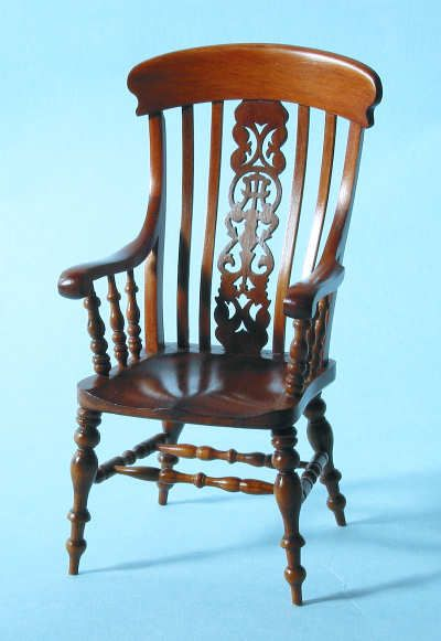 Dollhouse Miniature 1/'/' scale mahogany arm chair