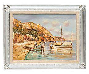 Dipinto a olio su tela con cornice argento Italy 70x90