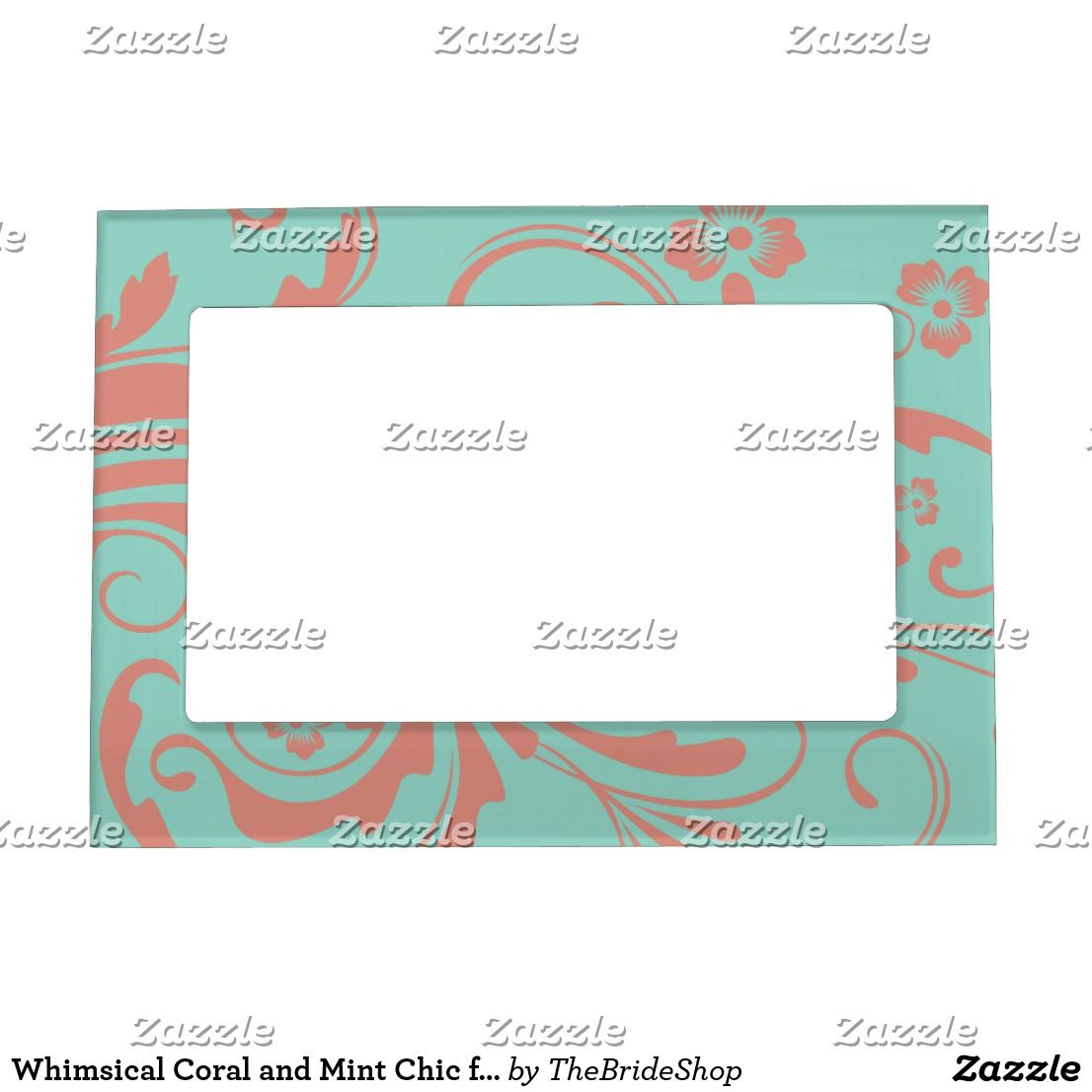 Whimsical Coral and Mint Chic floral Magnetic Frame in 2018 ...