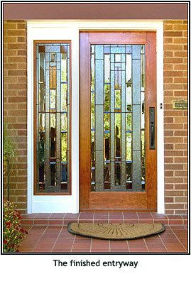 Custom Made Front Door With Stained Glass By Stainedglassartist Craftsman Front Doors Front Door Entrance Door Design
