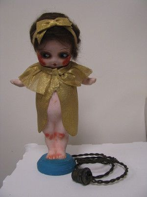 RARE ANTIQUE 1915 1925 PINK CHALKWARE KEWPIE DOLL LAMP MOVABLE ARMS MOHAIR  WIG