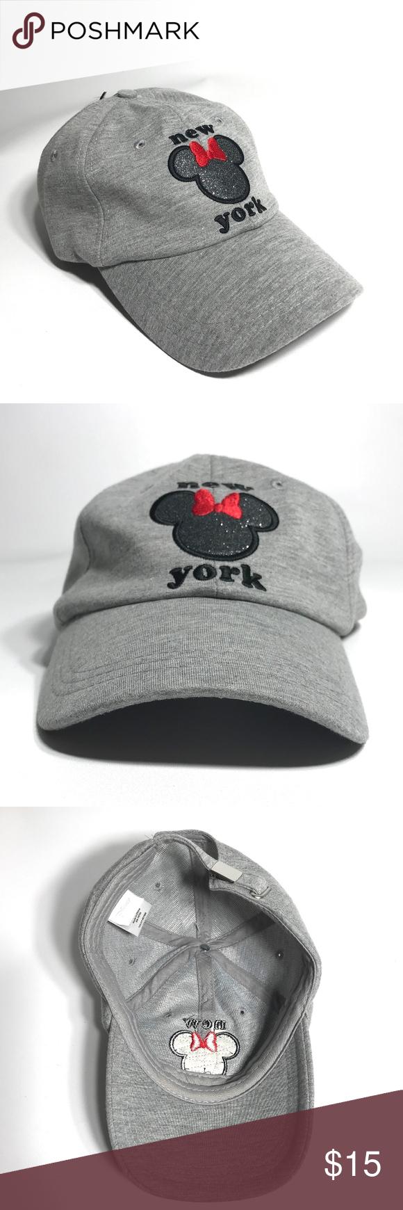 Disney Minnie Mouse Cap Hat for Women Cotton NEW Disney Minnie Mouse New  York Cap Hat Adult size Baseball cap 100% Cotton Color  Gray Adjustable  backstrap ... 957bad565054
