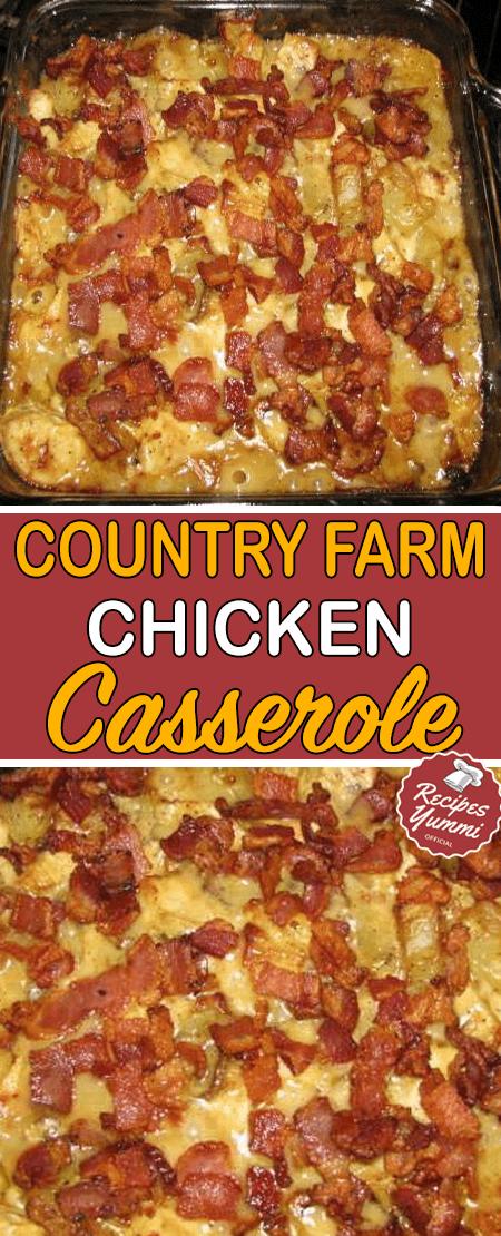 Country Farm Chicken Casserole #dinnerrecipesforfamilymaindishes