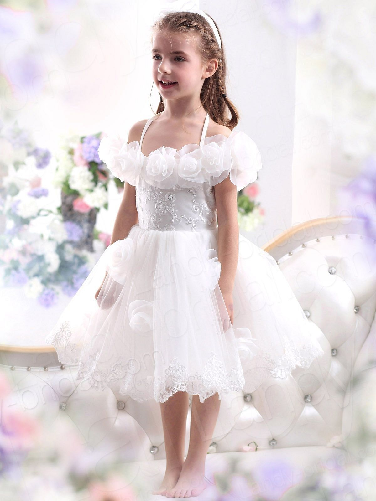 White flower girl dresses are very popular for the wedding ceremony