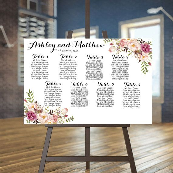Wedding Guest List Ideas: Wedding Seating Chart, Printable Seating Chart, Blush