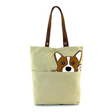 fcb6d0dc628e Sleepyville Critters - Peeking Corgi Tote Bag in Canvas Material ...