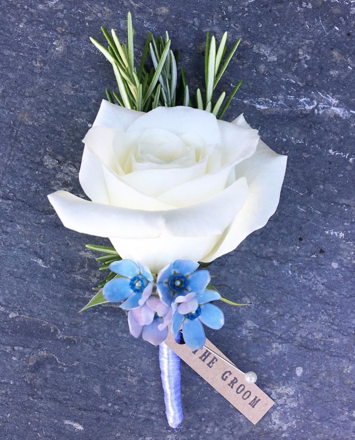 Pretty Blue & White Button Hole. By Florist Wildflower